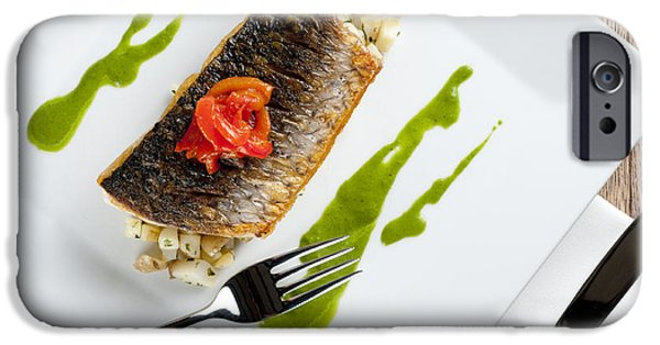 Michelin iPhone Cases - GREY MULLET WITH WATERCRESS SAUCE presented on a square white plate with cutlery and napkin iPhone Case by Andy Smy
