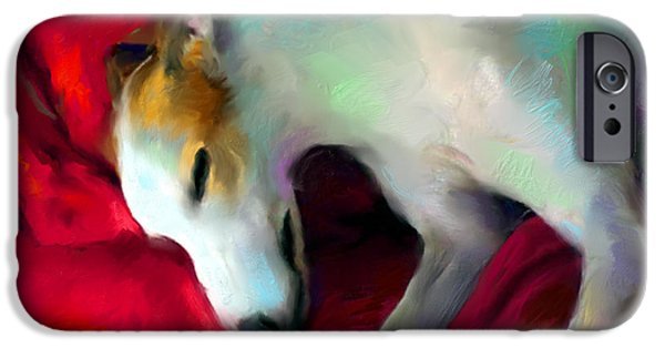 Canines Digital Art iPhone Cases - Greyhound Dog portrait  iPhone Case by Svetlana Novikova