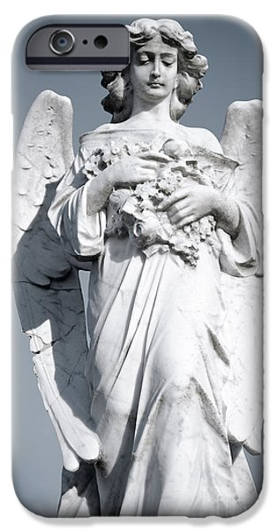 Grieving Angel on the old graveyard iPhone Case by Yurix Sardinelly