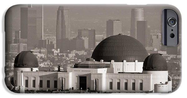 Blackandwhite Photographs iPhone Cases - Griffith Observatory iPhone Case by Adam Romanowicz
