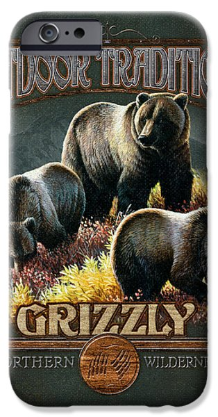Pine Paintings iPhone Cases - Grizzly Traditions iPhone Case by JQ Licensing