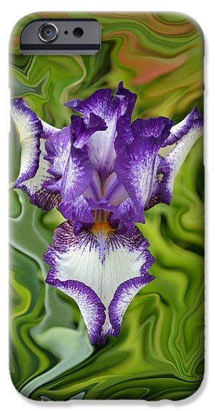 Groovy Purple Iris iPhone Case by Rebecca Margraf
