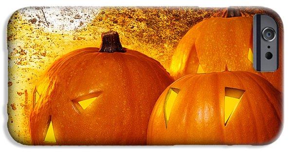 Night Lamp iPhone Cases - Grunge Halloween background iPhone Case by Anna Omelchenko