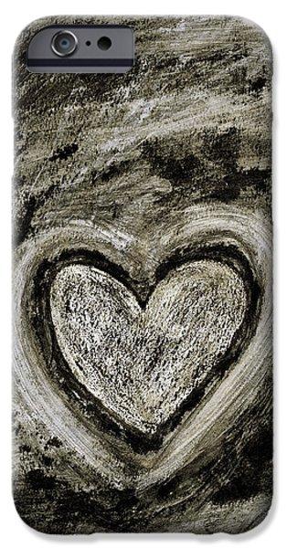Romanticism iPhone Cases - Grunge Heart iPhone Case by Frank Tschakert