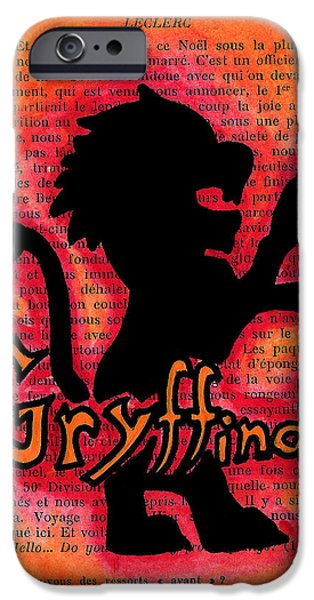 Mix Medium Drawings iPhone Cases - Gryffindor Lion iPhone Case by Jera Sky