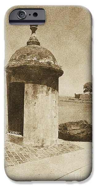 Guard Post Castillo San Felipe Del Morro San Juan Puerto Rico Vintage iPhone Case by Shawn O'Brien