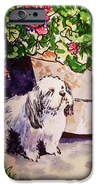 Dogs iPhone Cases - Guarding Geranium Sketchbook Project Down My Street iPhone Case by Irina Sztukowski