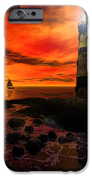 Lighthouse Digital iPhone Cases - Guiding Light - Lighthouse Art iPhone Case by Lourry Legarde
