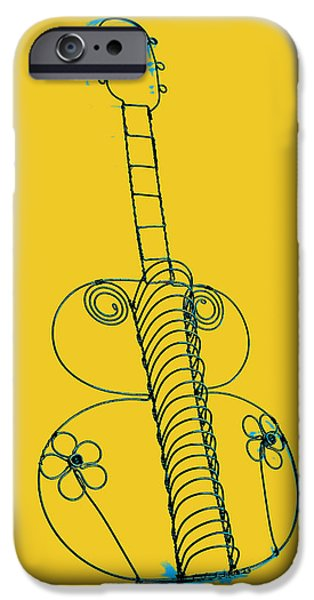 Abstract Digital Pyrography iPhone Cases - Guitar 2 iPhone Case by Mauro Celotti