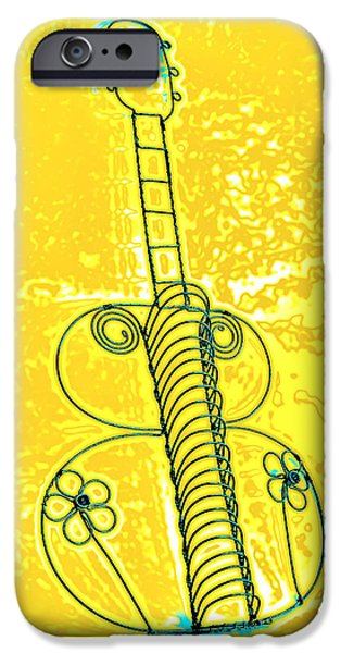 Leaning Pyrography iPhone Cases - Guitar 2c iPhone Case by Mauro Celotti