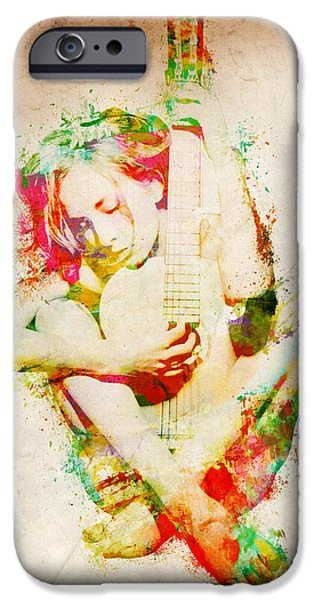 Papers iPhone Cases - Guitar Lovers Embrace iPhone Case by Nikki Marie Smith