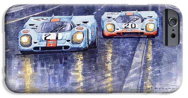Watercolour Paintings iPhone Cases - Gulf-Porsche 917 K Spa Francorchamps 1970 iPhone Case by Yuriy  Shevchuk