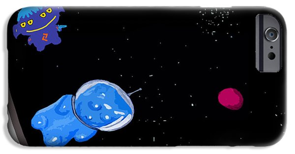 Puppy Digital Art iPhone Cases - Gummy Bear in Space with Alien iPhone Case by Jera Sky