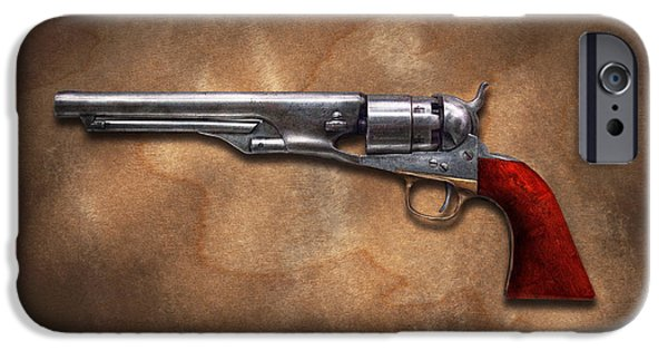 Police Art iPhone Cases - Gun - Model 1860 Colt Army Revolver iPhone Case by Mike Savad