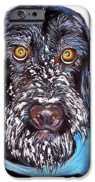 Black Dog iPhone Cases - Gus iPhone Case by Frances Marino