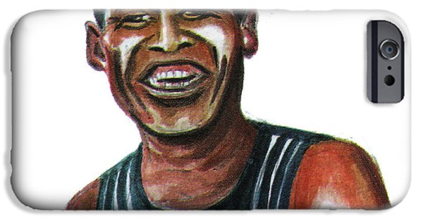 Berlin Drawings iPhone Cases - Haile Gebreselassie iPhone Case by Emmanuel Baliyanga