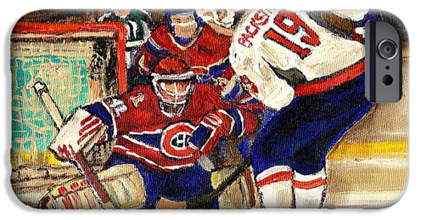 Montreal Land Marks Paintings iPhone Cases - Halak Blocks Backstrom In Stanley Cup Playoffs 2010 iPhone Case by Carole Spandau