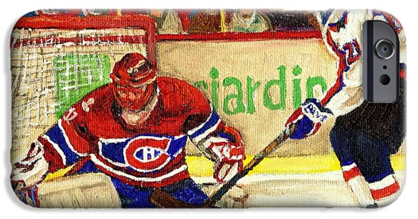 Hockey Paintings iPhone Cases - Halak Makes Another Save iPhone Case by Carole Spandau