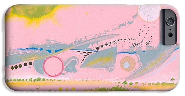 Moonscape Drawings iPhone Cases - Halcyon Pink iPhone Case by Ralf Schulze