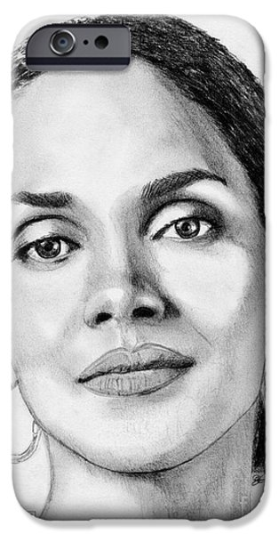 Celebrities Art iPhone Cases - Halle Berry in 2008 iPhone Case by J McCombie
