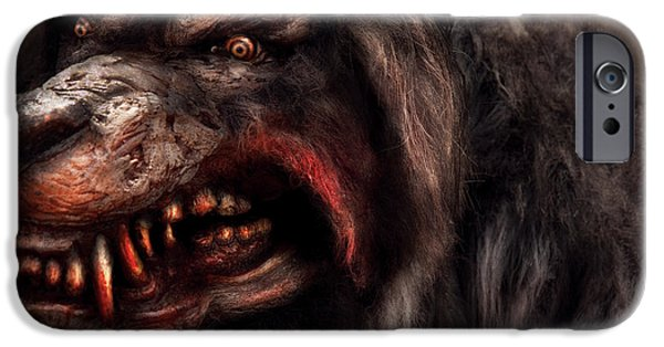Dog Walking iPhone Cases - Halloween -  Mad Dog iPhone Case by Mike Savad