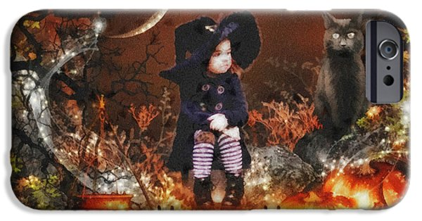 Celebration Mixed Media iPhone Cases - Halloween Girl iPhone Case by Mo T