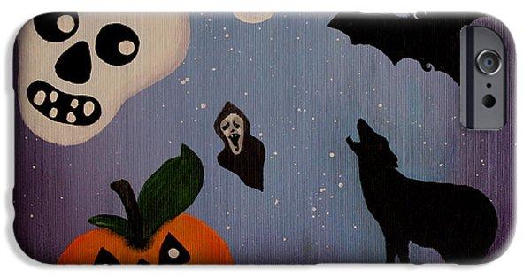 Night Lamp Paintings iPhone Cases - Halloween Night original acrylic painting placemat iPhone Case by Georgeta  Blanaru