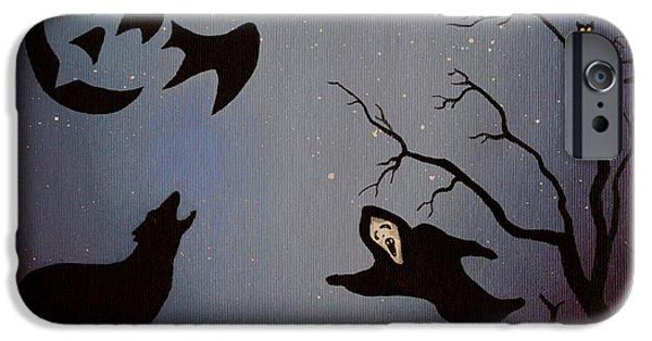 Invitations Paintings iPhone Cases - Halloween Night Party original painting placemat doormat iPhone Case by Georgeta  Blanaru