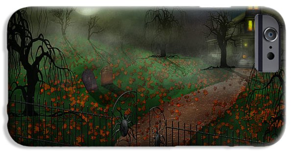 Haunted House iPhone Cases - Halloween - One Hallows Eve iPhone Case by Mike Savad