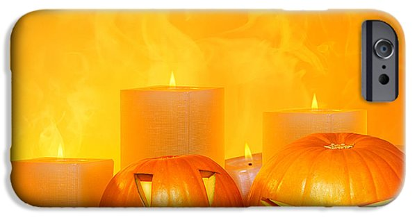 Night Lamp iPhone Cases - Halloween pumpkins border iPhone Case by Anna Omelchenko