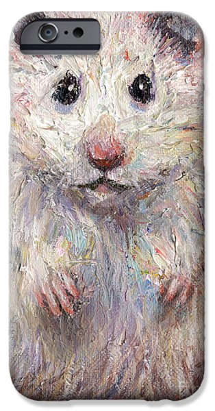 Animal Drawings iPhone Cases - Hamster Painting  iPhone Case by Svetlana Novikova