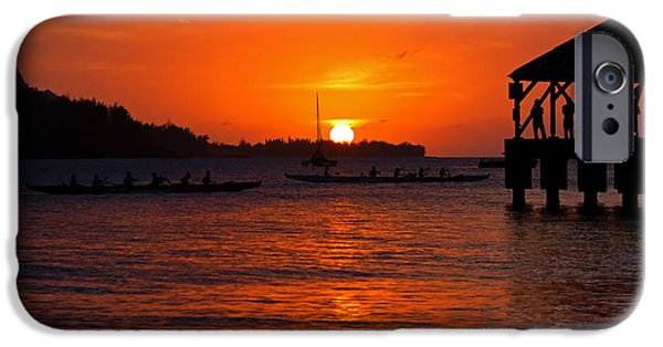 Canoe iPhone Cases - Hanalei Sunset iPhone Case by Mike  Dawson