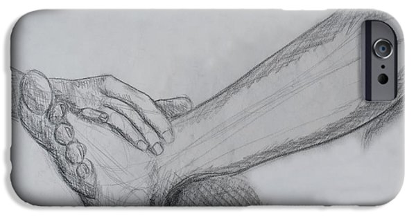 Graphite Drawing Pastels iPhone Cases - Hand and leg sketch iPhone Case by Jose Valeriano