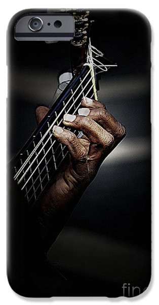 Guitars iPhone Cases - Hand of guitarist iPhone Case by Sheila Smart