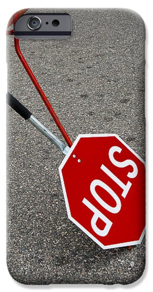 Handheld Stop Sign iPhone Case by Marlene Ford