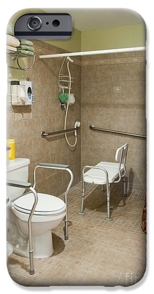 Shower Curtain iPhone Cases - Handicapped-Accessible Bathroom iPhone Case by Andersen Ross