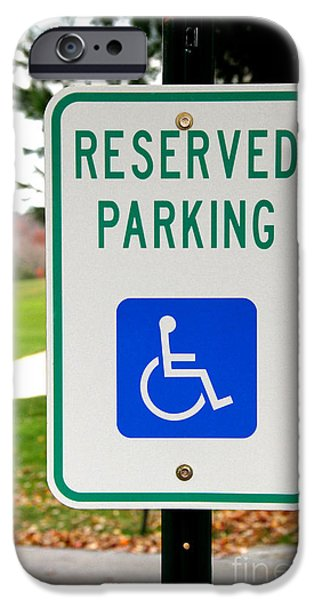 Traffic Sign iPhone Cases - Handicapped Parking Sign iPhone Case by Photo Researchers