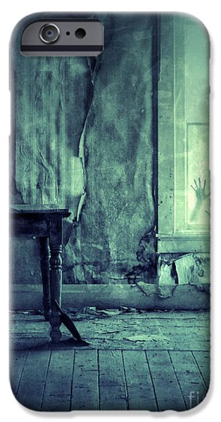 Haunted House iPhone Cases - Hands on Window of Creepy Old House iPhone Case by Jill Battaglia