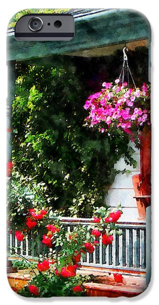 Hanging Baskets and Climbing Roses iPhone Case by Susan Savad