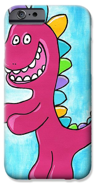 Character Portraits Drawings iPhone Cases - Happosaur iPhone Case by Jera Sky