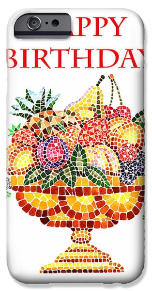 Pears iPhone Cases - Happy Birthday Card Fruit Vase Mosaic iPhone Case by Irina Sztukowski
