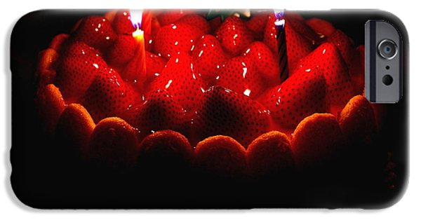 Charlotte iPhone Cases - Happy Birthday Strawberry Charlotte Cake iPhone Case by Wingsdomain Art and Photography