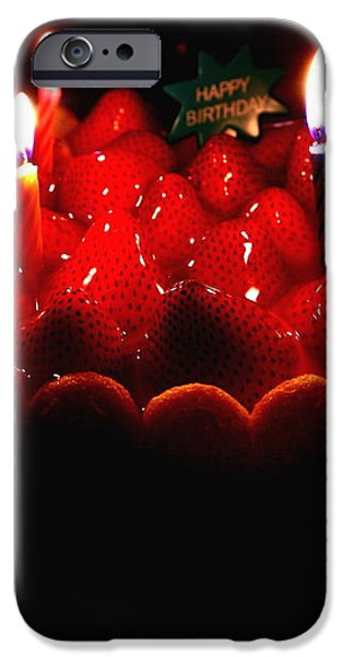 Happy Birthday Strawberry Charlotte Cake iPhone Case by Wingsdomain Art and Photography