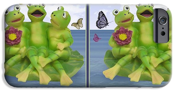 Flying Frog iPhone Cases - Happy Frogs - Gently cross your eyes and focus on the middle image iPhone Case by Brian Wallace