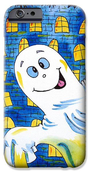 Haunted House Paintings iPhone Cases - Happy Halloween - 1 iPhone Case by Zaira Dzhaubaeva