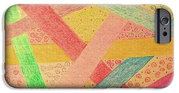 Gometric Shapes iPhone Cases - Happy highways iPhone Case by Debbie Portwood