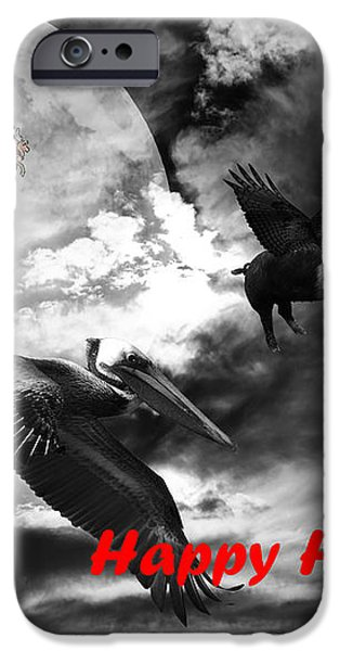 Happy Holidays . Winter Migration . bw iPhone Case by Wingsdomain Art and Photography