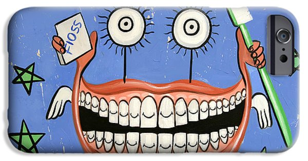 Giclee Mixed Media iPhone Cases - Happy Teeth iPhone Case by Anthony Falbo