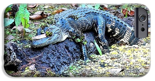 Alligator iPhone Cases - Hard Day in the Swamp - Digital Art iPhone Case by Carol Groenen