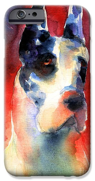 Puppy Drawings iPhone Cases - Harlequin Great dane watercolor painting iPhone Case by Svetlana Novikova